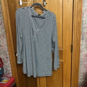 Black and white striped Henley